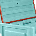 Chest/lid molded hinge, 115° opening