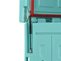 Gas jacks supporting lid opening up to 80°