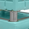 Lid fitted with metal bowls to enable stacking of BAC when on feet